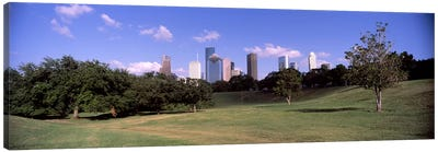 Downtown skylines viewed from a park, Houston, Texas, USA Canvas Art Print