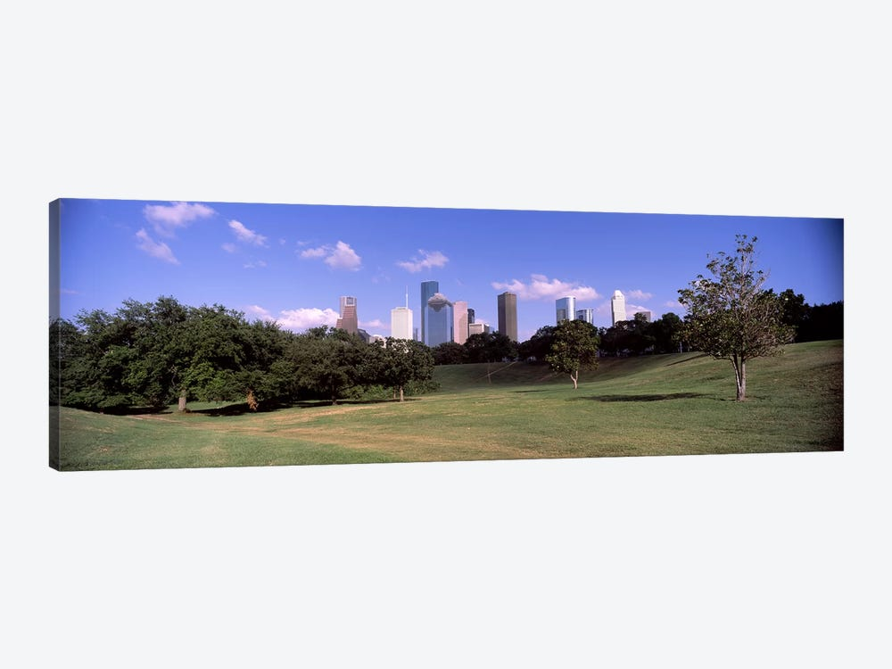 Downtown skylines viewed from a park, Houston, Texas, USA by Panoramic Images 1-piece Canvas Art