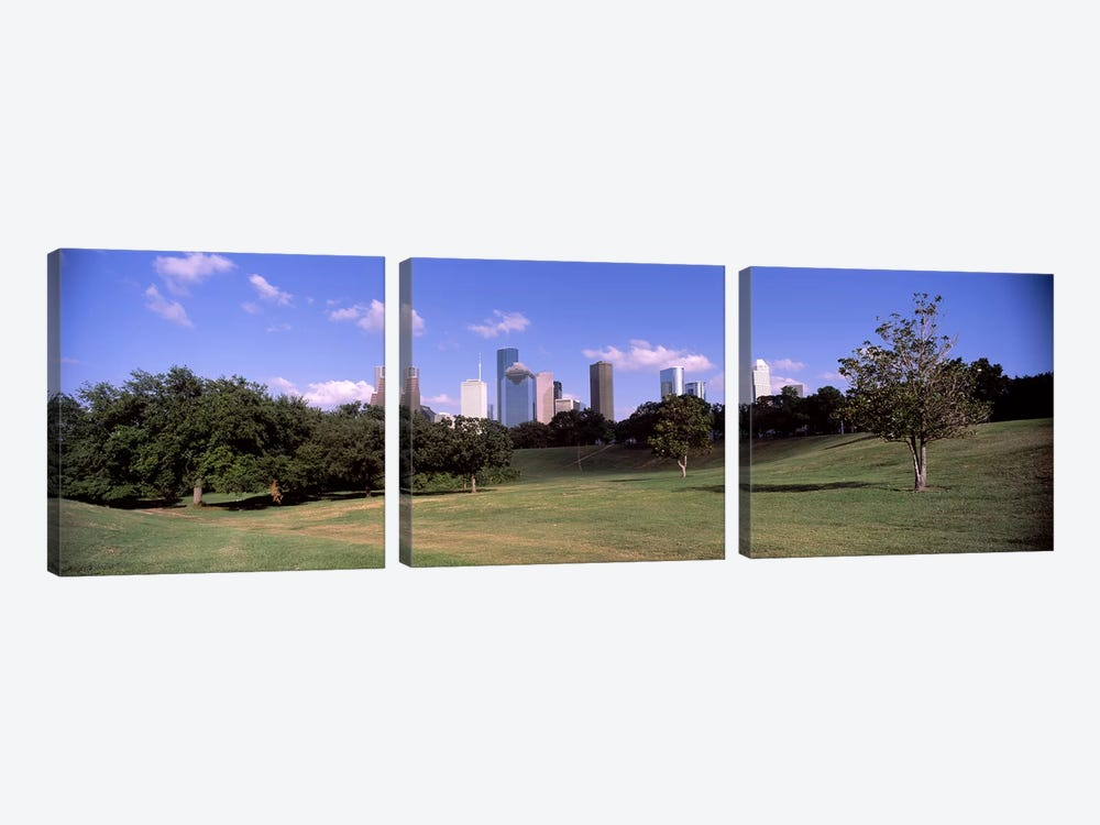 Downtown skylines viewed from a park, Houston, Texas, USA by Panoramic Images 3-piece Canvas Artwork
