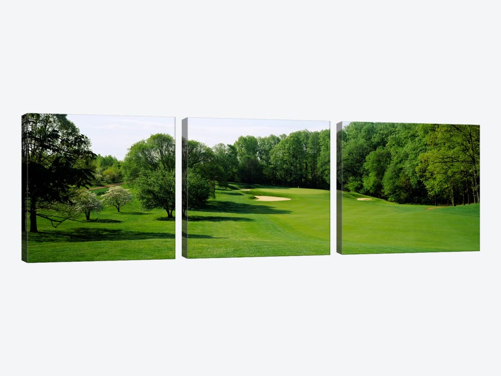 Trees On A Golf Course, Baltimore Country Club, Baltimore, Maryland, USA by Panoramic Images 3-piece Canvas Wall Art