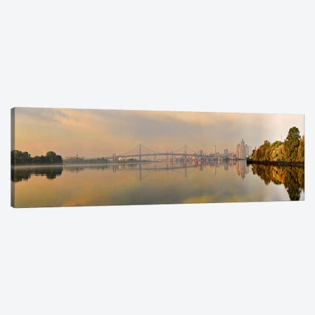 Bridge across a river, Benjamin Franklin Bridge, Delaware River, Philadelphia, Pennsylvania, USA Canvas Print #PIM10830} by Panoramic Images Canvas Art Print