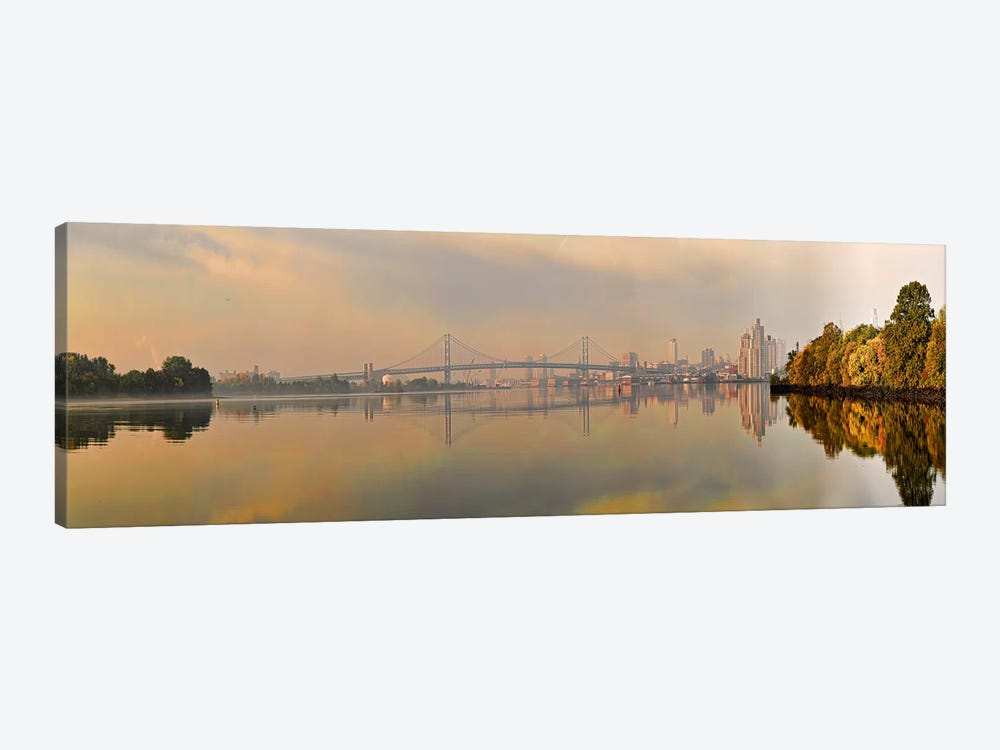 Bridge across a river, Benjamin Franklin Bridge, Delaware River, Philadelphia, Pennsylvania, USA by Panoramic Images 1-piece Canvas Artwork