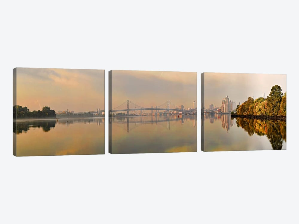 Bridge across a river, Benjamin Franklin Bridge, Delaware River, Philadelphia, Pennsylvania, USA by Panoramic Images 3-piece Canvas Wall Art