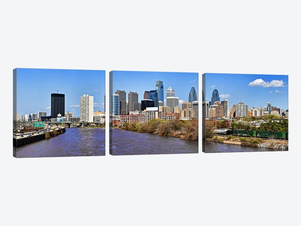Skyscrapers in a city, Liberty Tower, Comcast Center, Philadelphia, Pennsylvania, USA by Panoramic Images 3-piece Canvas Art Print
