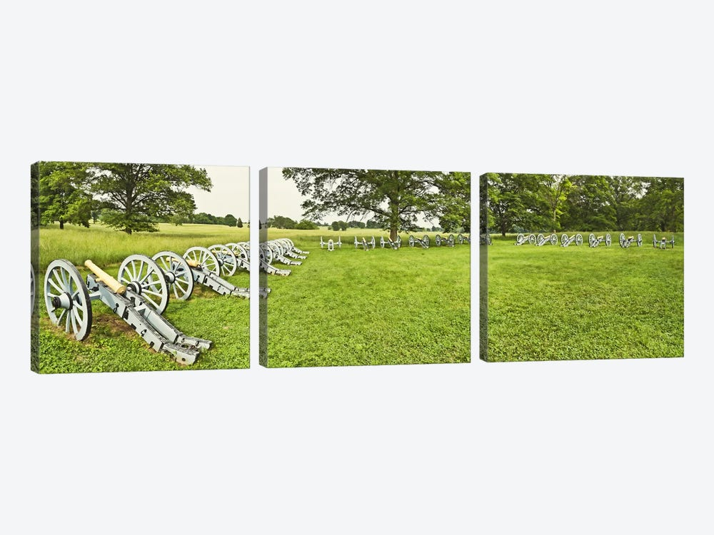 Cannons in a park, Valley Forge National Historic Park, Philadelphia, Pennsylvania, USA by Panoramic Images 3-piece Canvas Wall Art