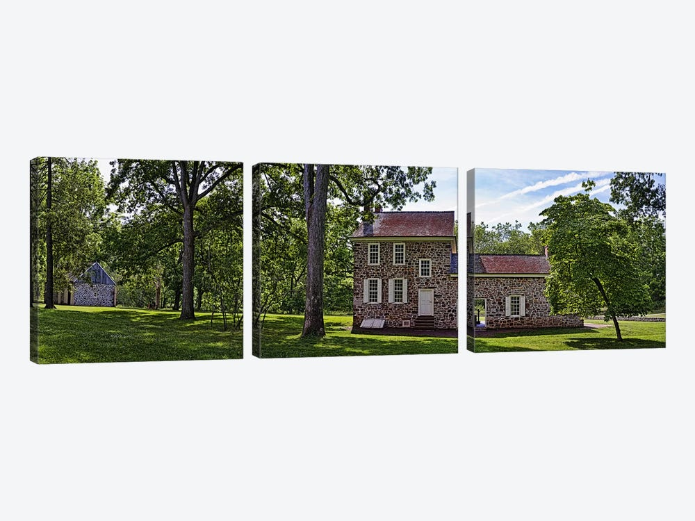 Facade of a building, Washington's Headquarters, Valley Forge National Historic Park, Philadelphia, Pennsylvania, USA by Panoramic Images 3-piece Canvas Art Print