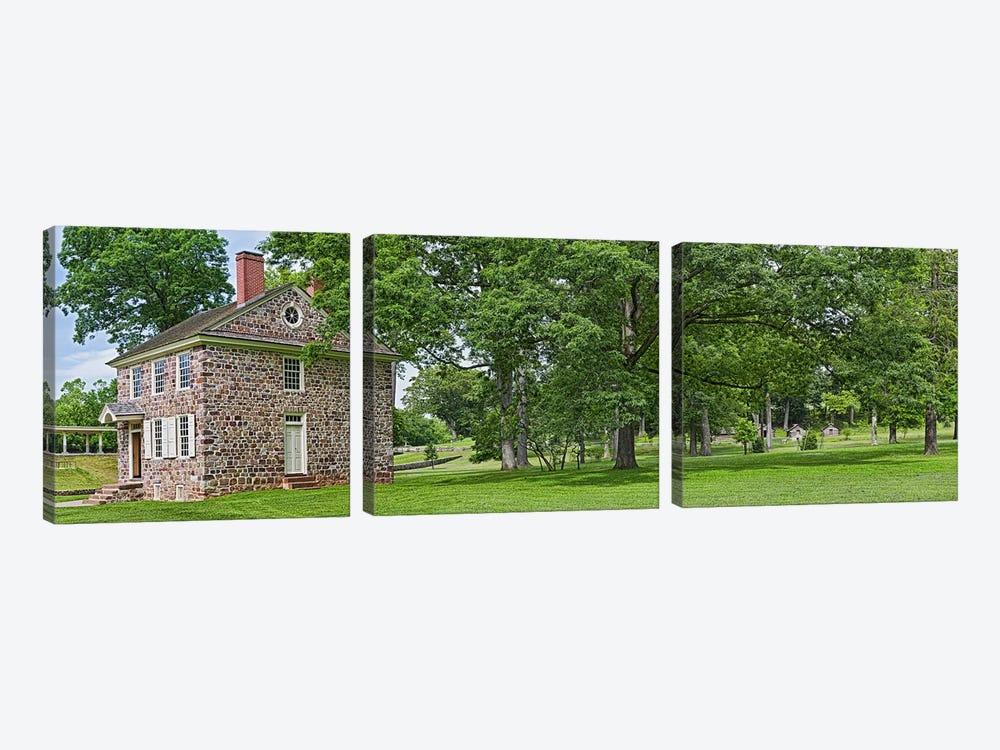 Buildings in a farm, Washington's Headquarters, Valley Forge National Historic Park, Philadelphia, Pennsylvania, USA by Panoramic Images 3-piece Canvas Art