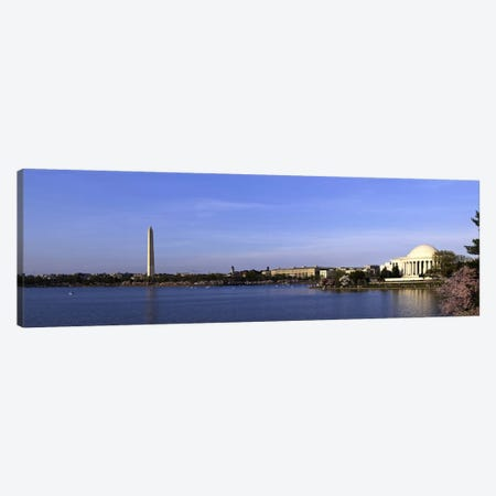 Cherry blossoms at the Tidal Basin, Jefferson Memorial, Washington Monument, National Mall, Washington DC, USA Canvas Print #PIM10835} by Panoramic Images Canvas Art
