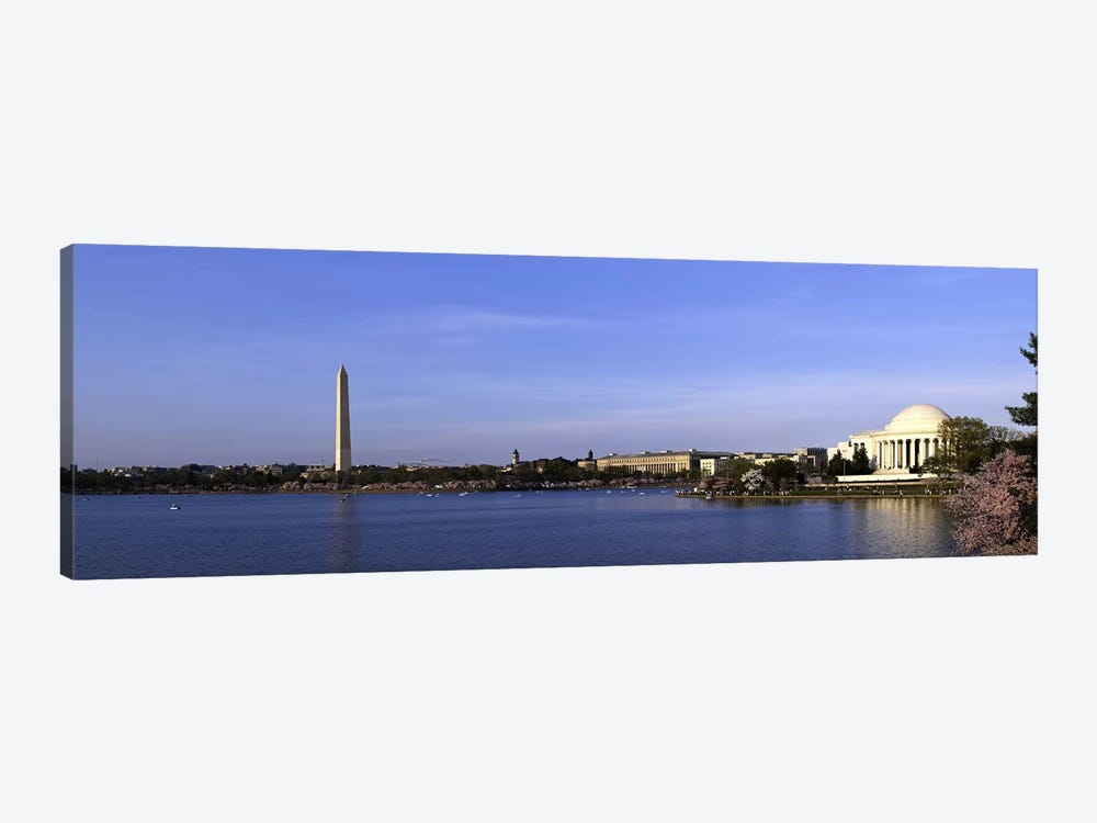 Cherry blossoms at the Tidal Basin, Jefferson Memorial, Washington Monument, National Mall, Washington DC, USA by Panoramic Images 1-piece Art Print