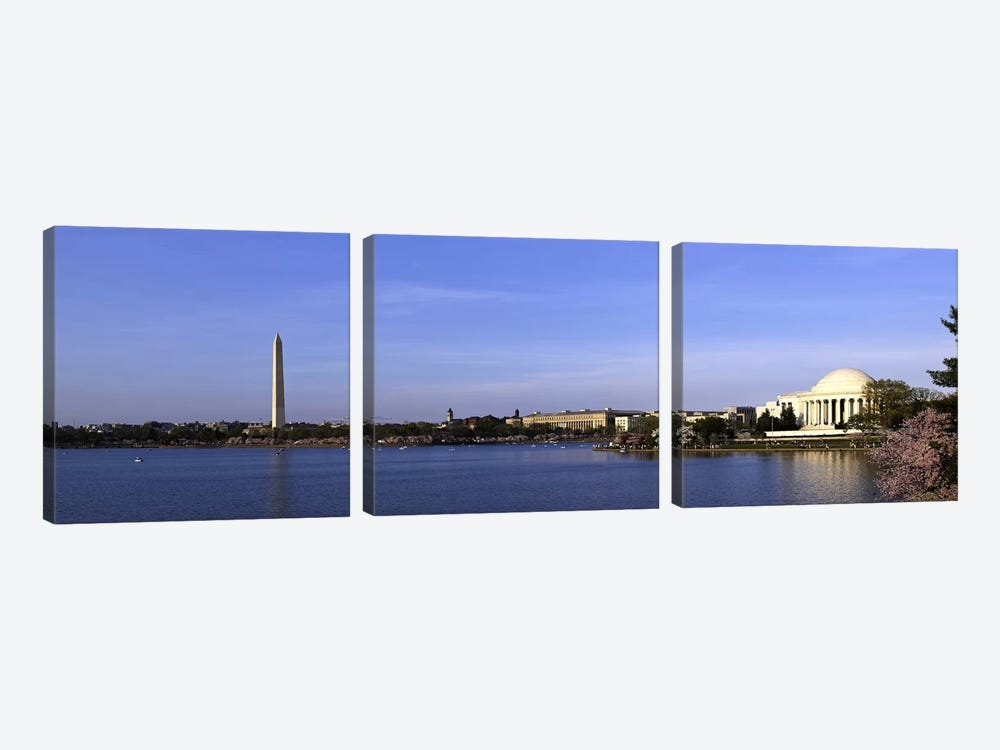Cherry blossoms at the Tidal Basin, Jefferson Memorial, Washington Monument, National Mall, Washington DC, USA by Panoramic Images 3-piece Art Print