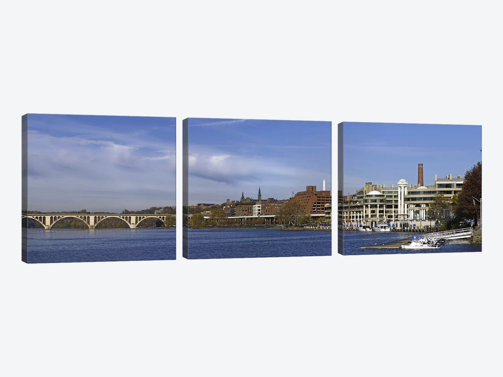Francis Scott Key Bridge over the Potomac River, Old Georgetown, Washington DC, USA by Panoramic Images 3-piece Canvas Art