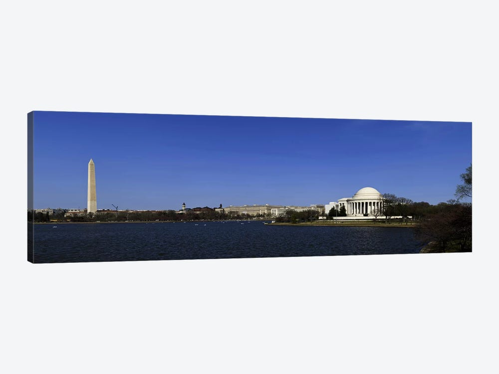 Cherry blossom buds just before full bloom at Tidal Basin, Jefferson Memorial, Washington Monument, National Mall, Washington DC by Panoramic Images 1-piece Art Print