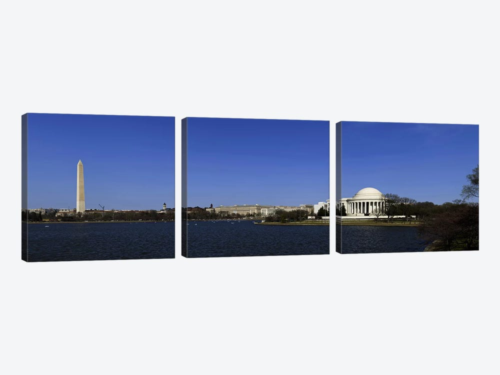 Cherry blossom buds just before full bloom at Tidal Basin, Jefferson Memorial, Washington Monument, National Mall, Washington DC by Panoramic Images 3-piece Art Print