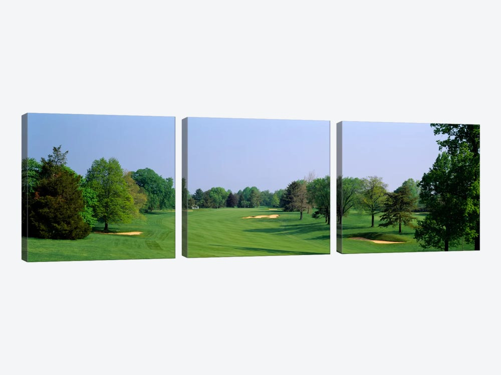 Panoramic view of a golf course, Baltimore Country Club, Maryland, USA by Panoramic Images 3-piece Canvas Print