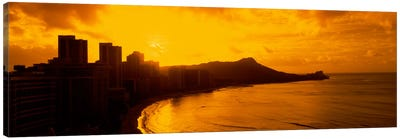 USA, Hawaii, Honolulu, Waikiki Beach, Sunrise view of city and beach Canvas Art Print