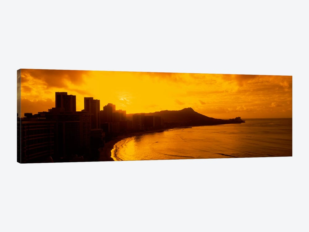 USA, Hawaii, Honolulu, Waikiki Beach, Sunrise view of city and beach by Panoramic Images 1-piece Canvas Art