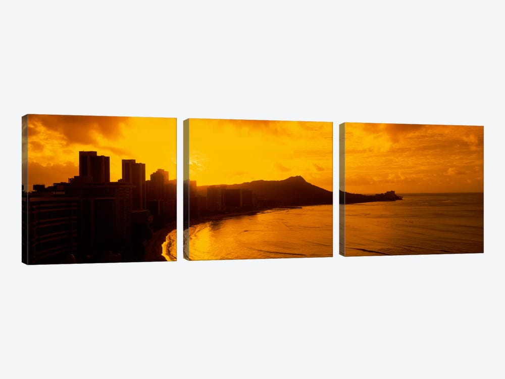 USA, Hawaii, Honolulu, Waikiki Beach, Sunrise view of city and beach by Panoramic Images 3-piece Canvas Artwork
