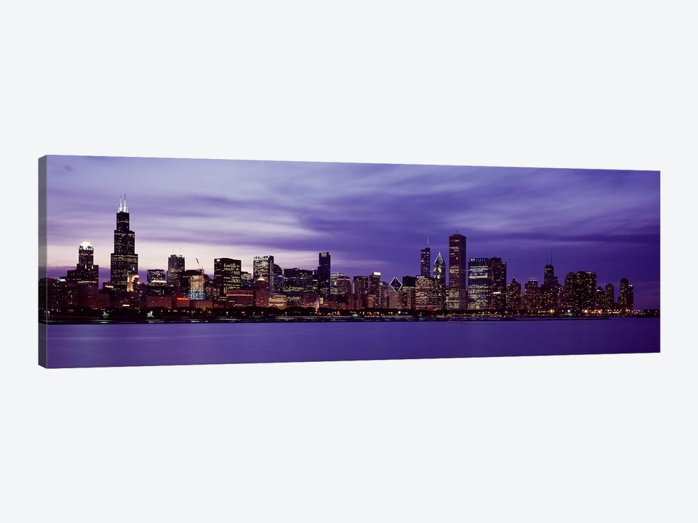 Skyscrapers in a city lit up at night, Chicago, Illinois, USA by Panoramic Images 1-piece Canvas Wall Art