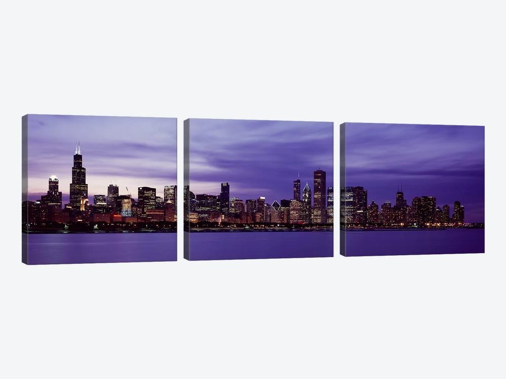 Skyscrapers in a city lit up at night, Chicago, Illinois, USA by Panoramic Images 3-piece Canvas Art