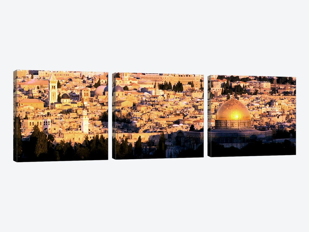 Mosque in a cityDome of the Rock, Temple Mount, Jerusalem, Israel by Panoramic Images 3-piece Art Print