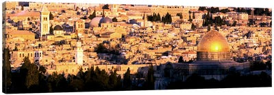 Mosque in a cityDome of the Rock, Temple Mount, Jerusalem, Israel Canvas Art Print