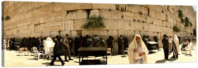 People praying in front of the Wailing Wall, Jerusalem, Israel Canvas Print #PIM10854