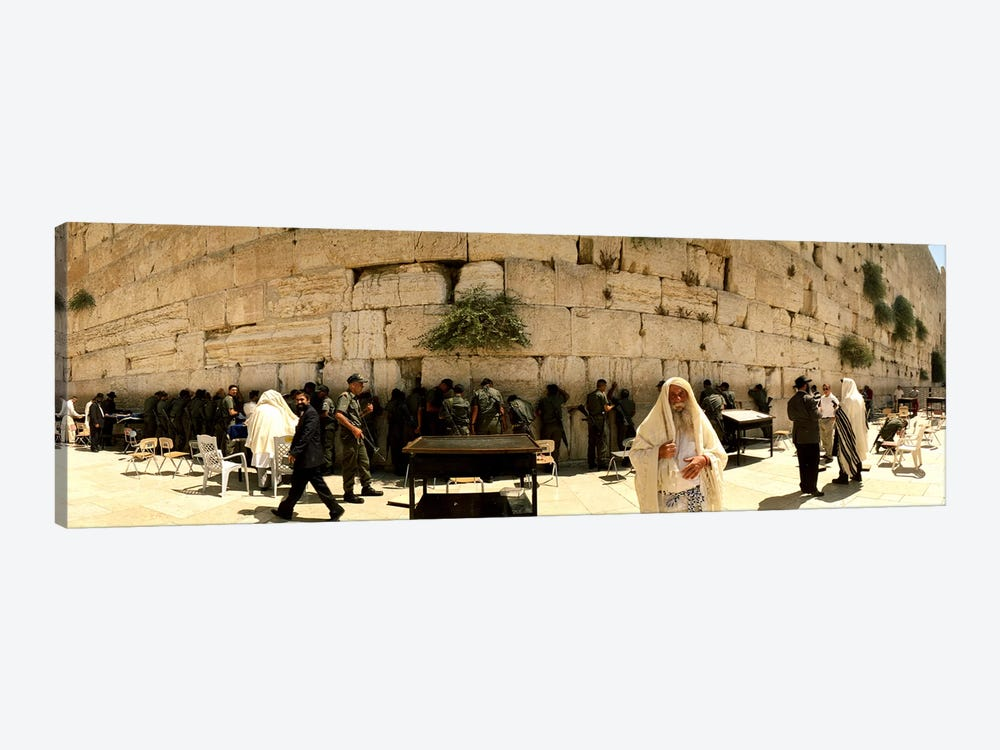 People praying in front of the Wailing Wall, Jerusalem, Israel by Panoramic Images 1-piece Canvas Artwork