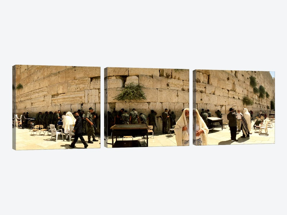 People praying in front of the Wailing Wall, Jerusalem, Israel by Panoramic Images 3-piece Canvas Artwork