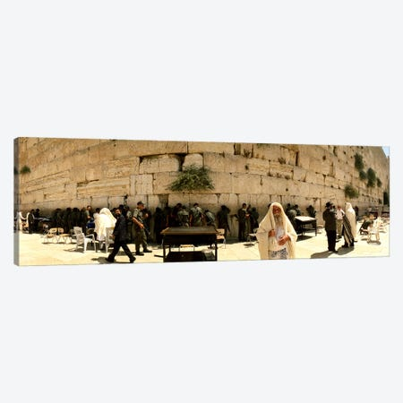 People praying in front of the Wailing Wall, Jerusalem, Israel Canvas Print #PIM10854} by Panoramic Images Canvas Artwork