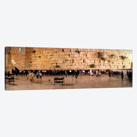People praying in front of the Western Wall, Jerusalem, Israel Canvas Print #PIM10855} by Panoramic Images Canvas Artwork
