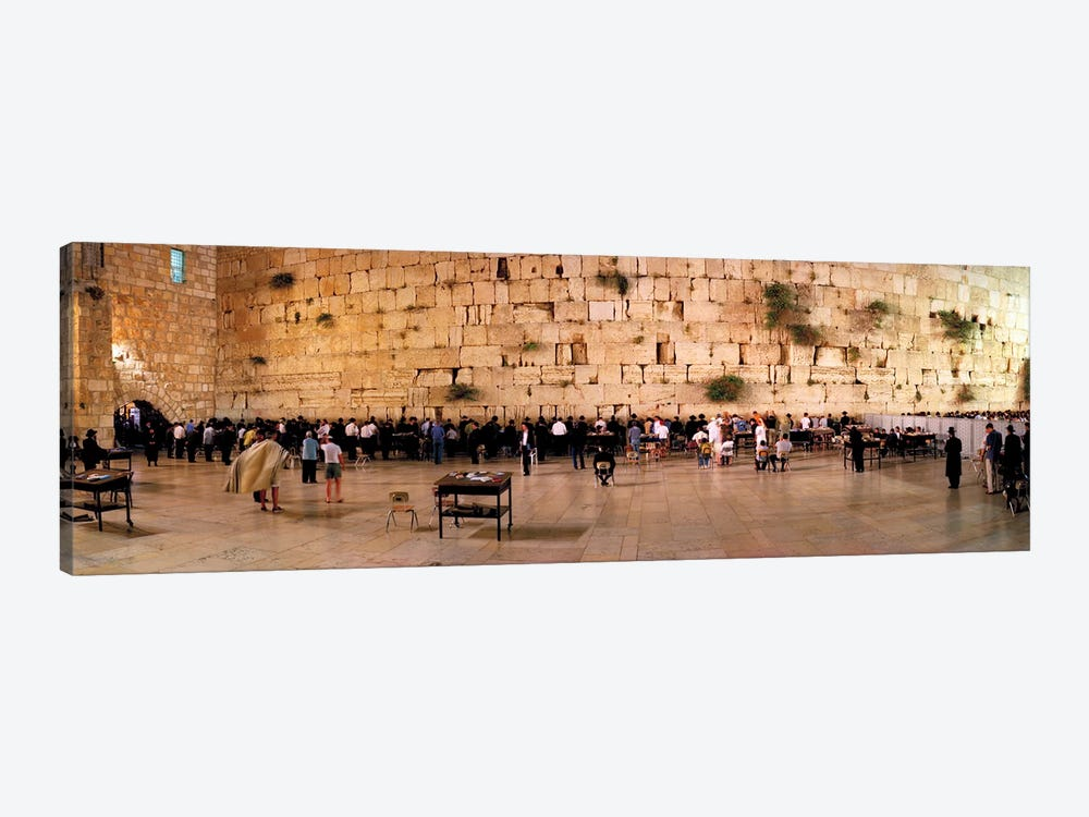 People praying in front of the Western Wall, Jerusalem, Israel by Panoramic Images 1-piece Canvas Print