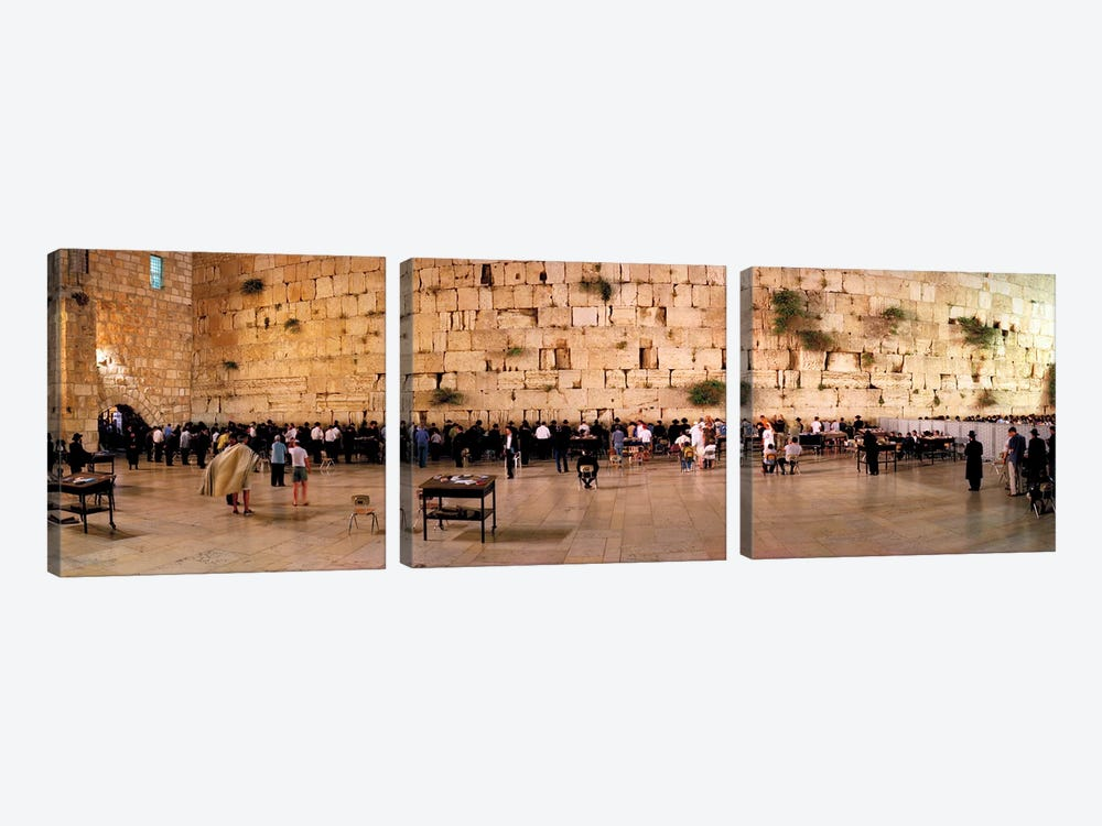 People praying in front of the Western Wall, Jerusalem, Israel by Panoramic Images 3-piece Art Print
