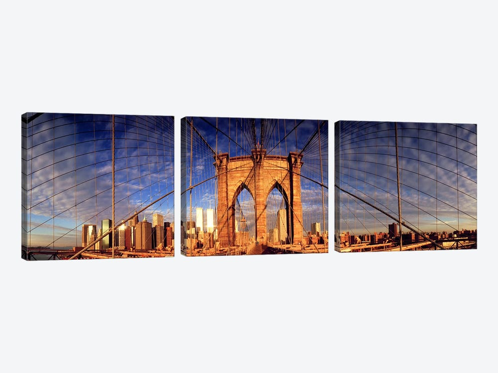 Details of the Brooklyn Bridge, New York City, New York State, USA by Panoramic Images 3-piece Canvas Print