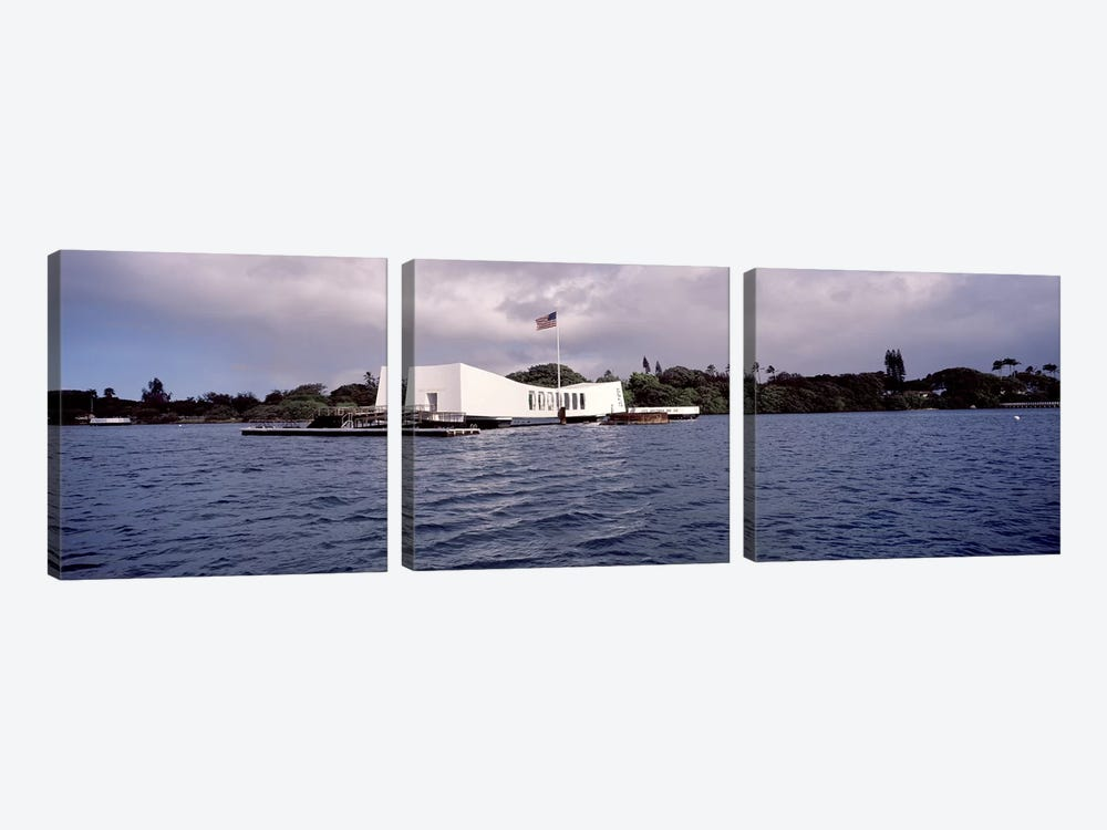 USS Arizona Memorial, Pearl Harbor, Honolulu, Hawaii, USA #2 by Panoramic Images 3-piece Canvas Art Print