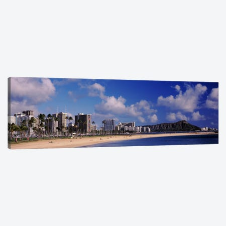 Waikiki Beach with mountain in the background, Diamond Head, Honolulu, Oahu, Hawaii, USA Canvas Print #PIM10866} by Panoramic Images Canvas Print