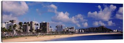 Waikiki Beach with mountain in the background, Diamond Head, Honolulu, Oahu, Hawaii, USA Canvas Print #PIM10866