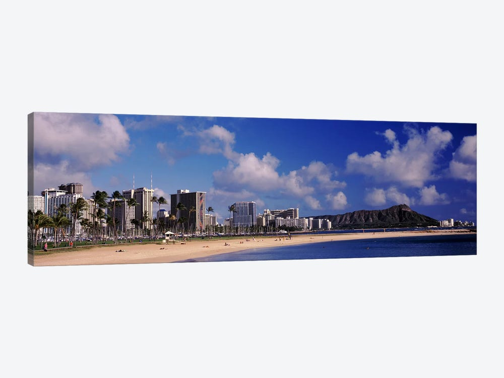 Waikiki Beach with mountain in the background, Diamond Head, Honolulu, Oahu, Hawaii, USA by Panoramic Images 1-piece Canvas Art Print