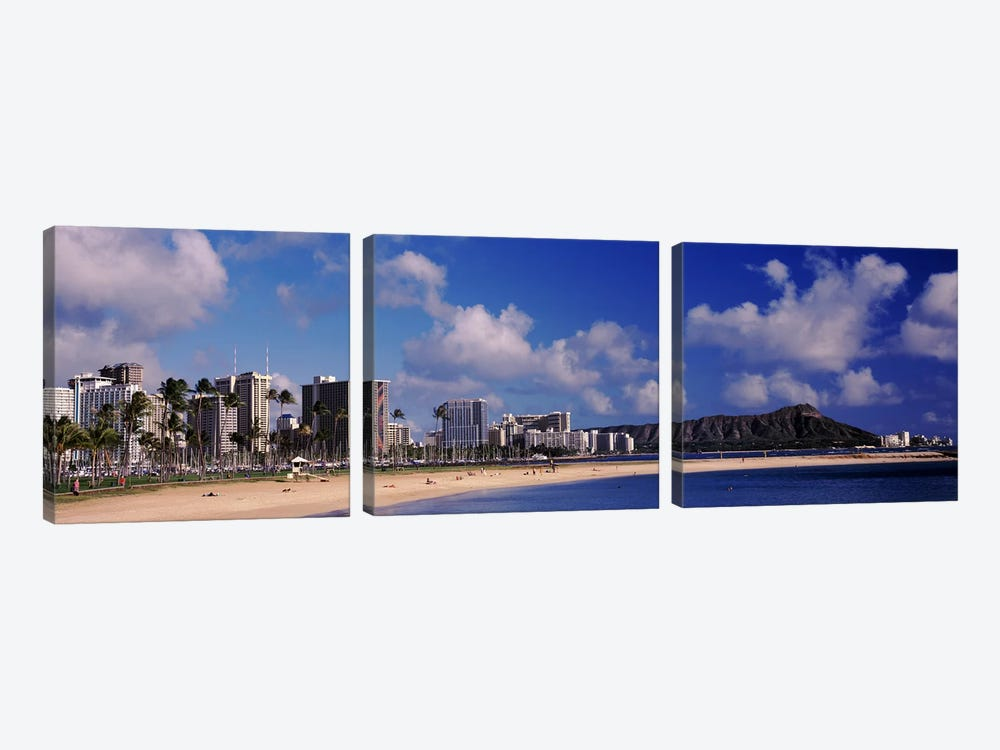 Waikiki Beach with mountain in the background, Diamond Head, Honolulu, Oahu, Hawaii, USA by Panoramic Images 3-piece Canvas Art Print