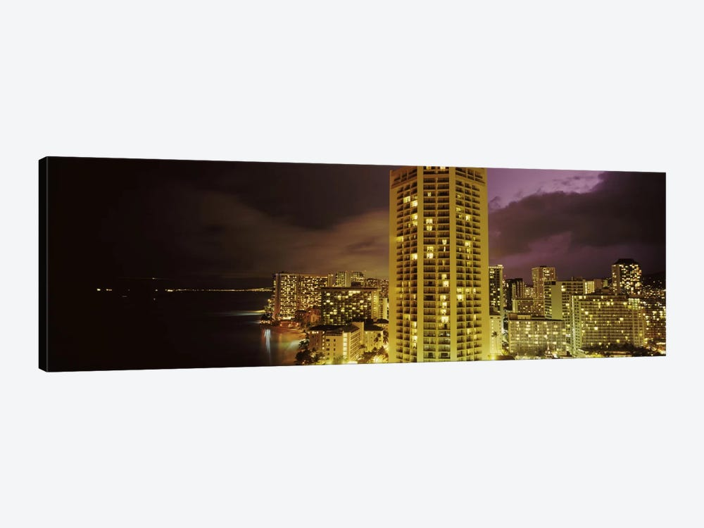Buildings lit up at night, Honolulu, Oahu, Hawaii, USA by Panoramic Images 1-piece Canvas Art