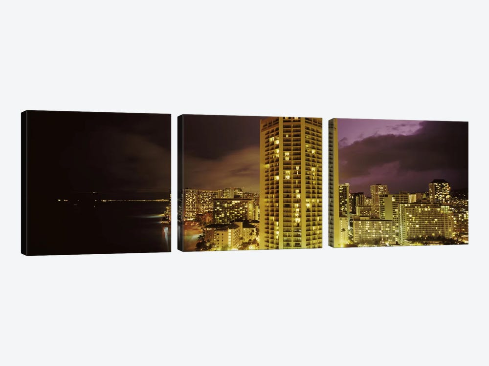 Buildings lit up at night, Honolulu, Oahu, Hawaii, USA by Panoramic Images 3-piece Canvas Wall Art