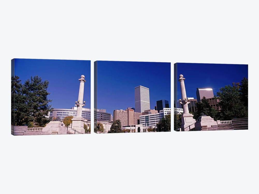 Buildings from Civic Center Park, Denver, Colorado, USA by Panoramic Images 3-piece Canvas Art Print