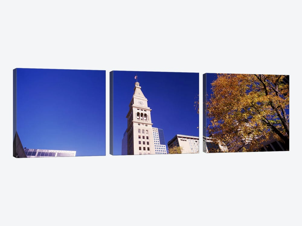 Low angle view of a Clock tower, Denver, Colorado, USA #2 3-piece Canvas Wall Art