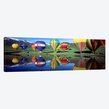 Reflection Of Hot Air Balloons On Water, Colorado, USA Canvas Print #PIM1087} by Panoramic Images Canvas Art