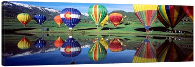Reflection Of Hot Air Balloons On Water, Colorado, USA Canvas Art Print