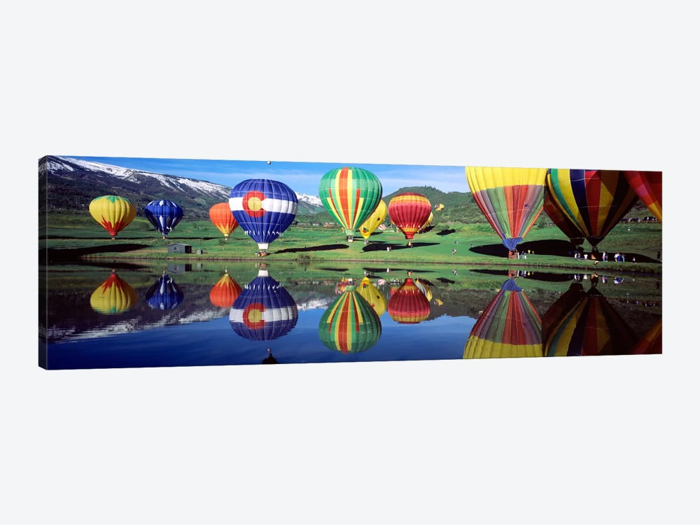Reflection Of Hot Air Balloons On Water, Colorado, USA by Panoramic Images 1-piece Art Print