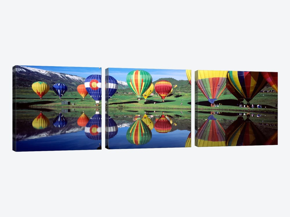 Reflection Of Hot Air Balloons On Water, Colorado, USA by Panoramic Images 3-piece Art Print