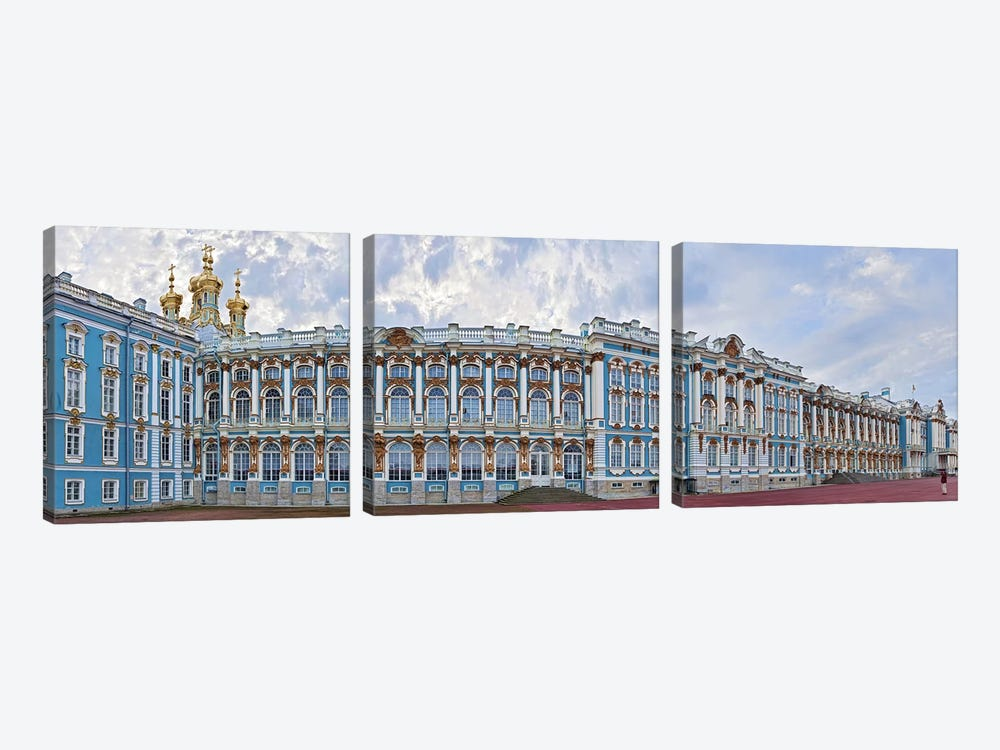 Catherine Palace courtyard, Tsarskoye Selo, St. Petersburg, Russia by Panoramic Images 3-piece Canvas Artwork