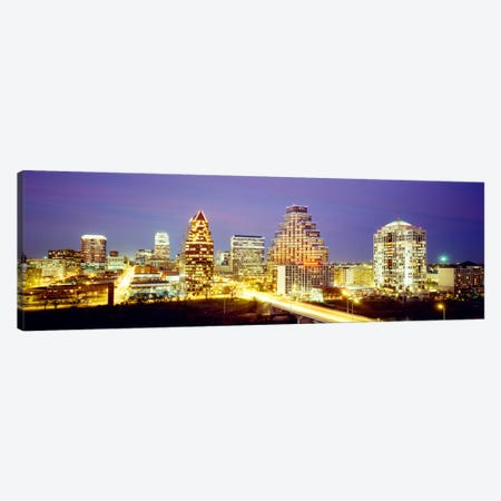 Buildings lit up at dusk, Austin, Texas, USA Canvas Print #PIM1088} by Panoramic Images Canvas Art Print