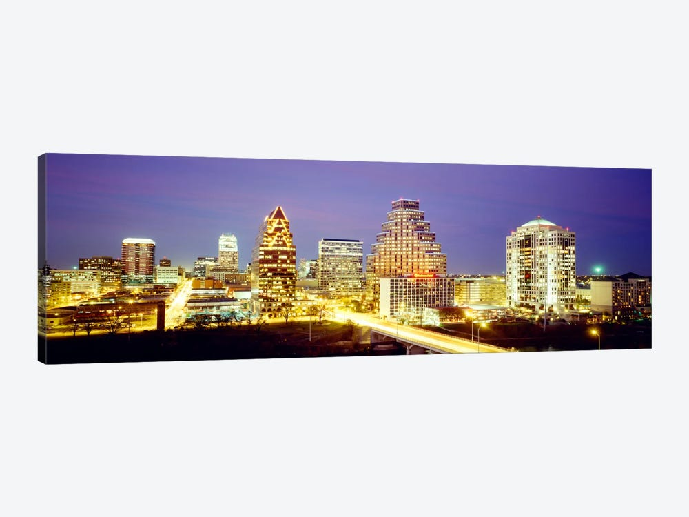 Buildings lit up at dusk, Austin, Texas, USA by Panoramic Images 1-piece Canvas Artwork