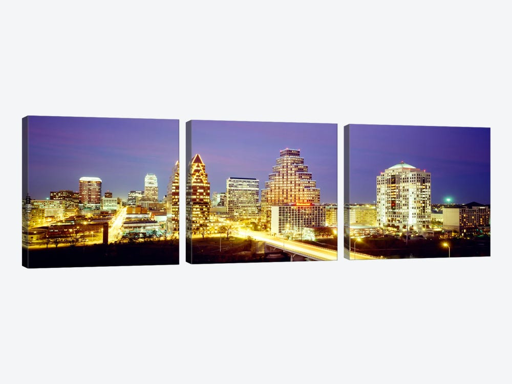 Buildings lit up at dusk, Austin, Texas, USA by Panoramic Images 3-piece Canvas Art